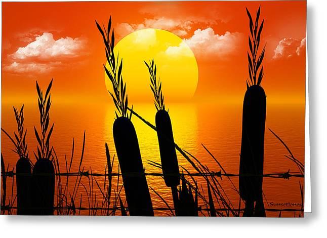 Warm Summer Greeting Cards - Sunset Lake Greeting Card by Robert Orinski