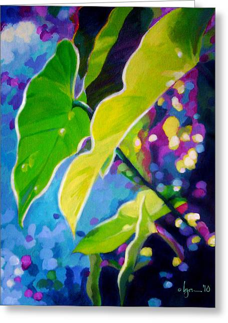 Philodendron Greeting Cards - Sunset Leaves Greeting Card by Angela Treat Lyon