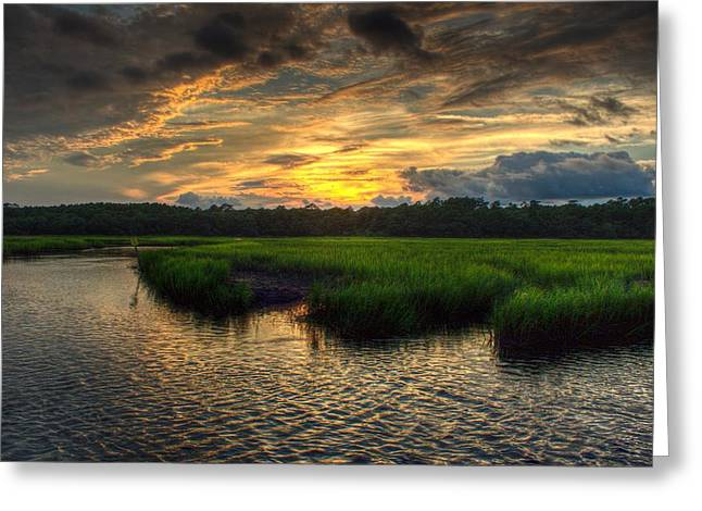 Sunset Framed Prints Greeting Cards - Summer Sunset Over the Marsh Greeting Card by Brian Hamilton