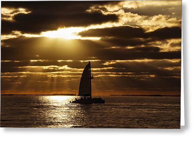 Key West Greeting Cards - Sunset Sail 2 Greeting Card by Bob Slitzan