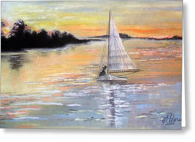 Sailing Boat Pastels Greeting Cards - Sunset Sail Greeting Card by Judy Pearson