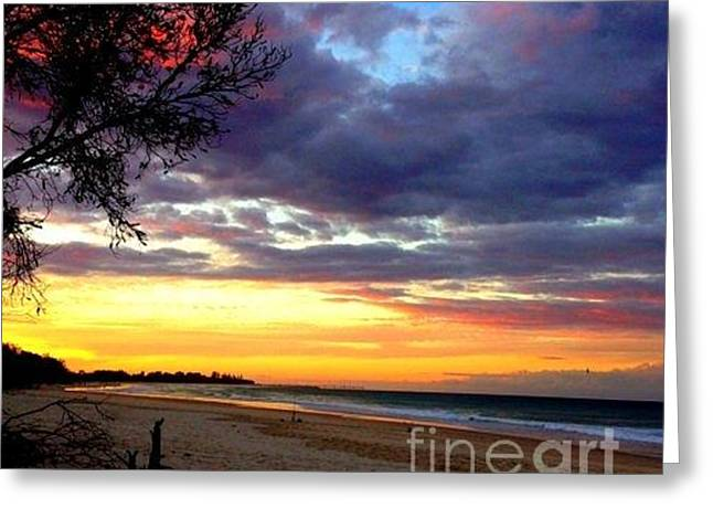 Greeting Cards - Sunset in Australia Melbourn  Greeting Card by Joyce Woodhouse