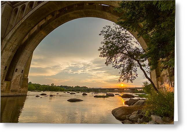 Sunset Under The A-line Bridge Greeting Card by Chris Marcussen