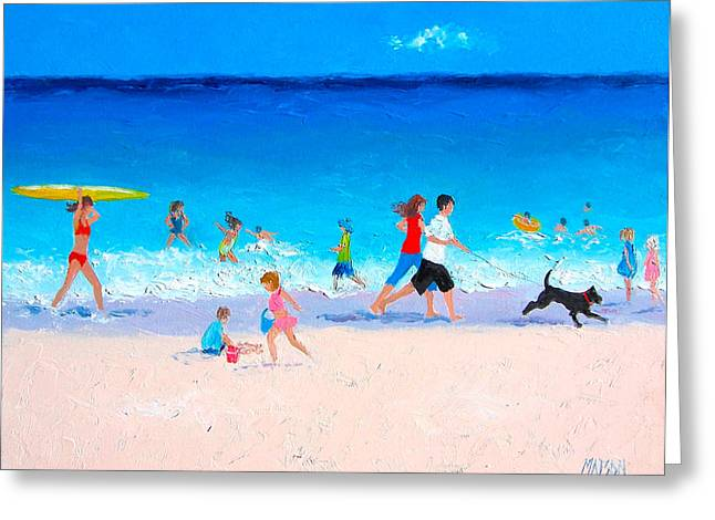 Dog Beach Print Greeting Cards - Sunshine and Summertime Greeting Card by Jan Matson
