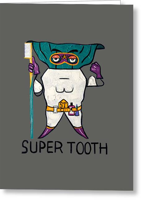 Loose Digital Greeting Cards - Super Tooth Greeting Card by Anthony Falbo