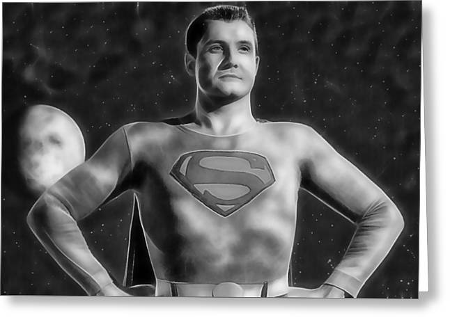 Superhero Greeting Cards - Superman George Reeves Collection Greeting Card by Marvin Blaine