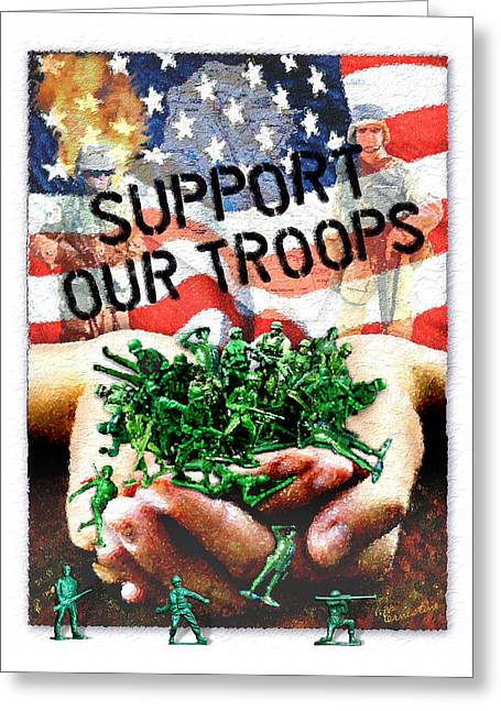 National Mixed Media Greeting Cards - Support Our Troops Greeting Card by Ernestine Grindal