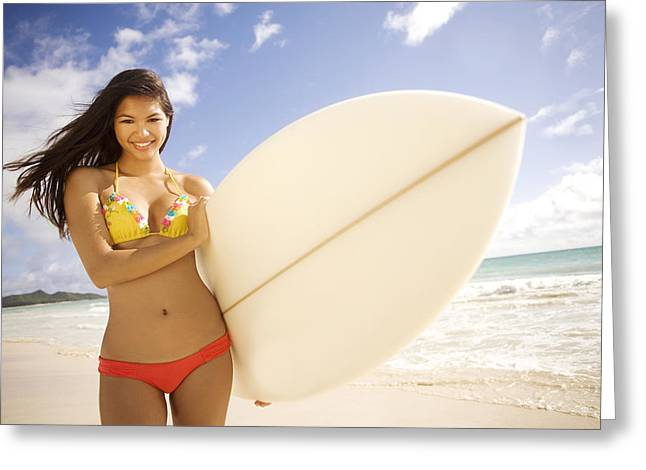 Surfing Art Greeting Cards - Surfer girl Greeting Card by Sri Maiava Rusden - Printscapes