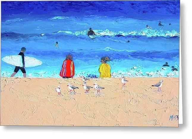 Beach Scene Greeting Cards - Surfer Girls Greeting Card by Jan Matson
