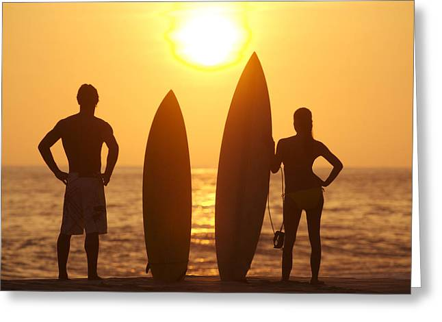Surfer Silhouettes Greeting Card by Larry Dale Gordon - Printscapes