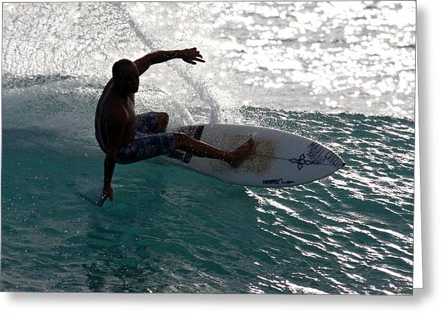 Surf Lifestyle Greeting Cards - Surfer Surfing the blue waves at Dumps Maui Hawaii Greeting Card by Pierre Leclerc Photography