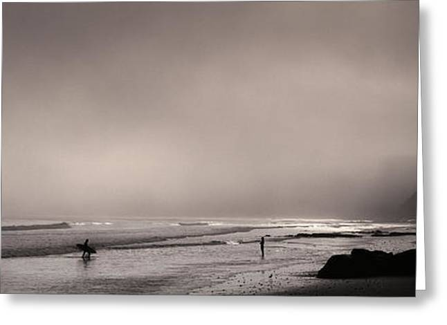 Marin County Greeting Cards - Surfers On The Beach, Point Reyes Greeting Card by Panoramic Images