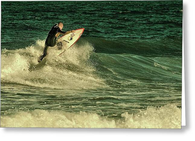 Surfing Art Greeting Cards - Surfing - Jersey Shore Greeting Card by Angie Tirado