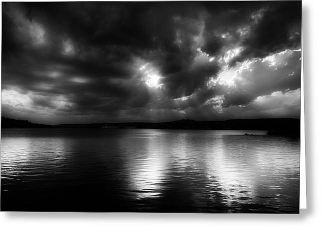 Storm Clouds; Sunset; Twilight; Water Greeting Cards - Surreal Clouds over Inks Lake Greeting Card by Mountain Dreams