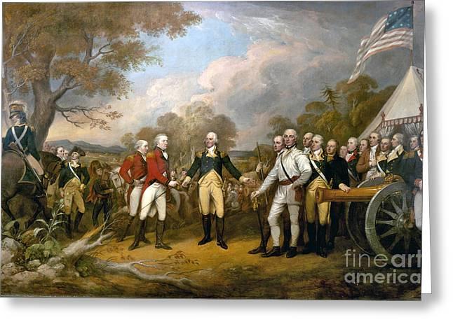 Burgoyne Greeting Cards - Surrender of General Burgoyne  Greeting Card by Celestial Images