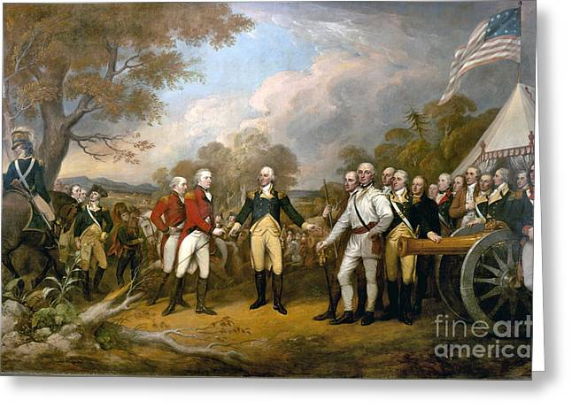 Surrender Of General Burgoyne  Greeting Card by John Trumbull