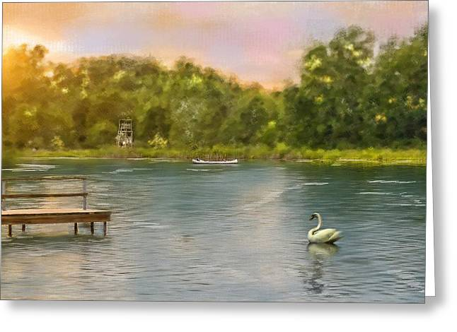 Canoe Greeting Cards - Swan Lake Greeting Card by Mary Timman