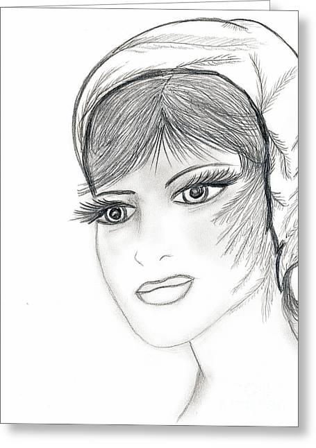Sweet Flapper Greeting Card by Sonya Chalmers