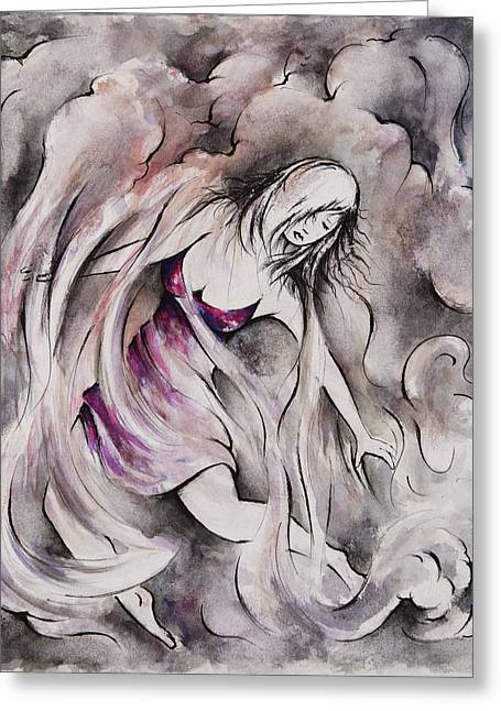 Floating Girl Greeting Cards - Swept Away Greeting Card by Rachel Christine Nowicki