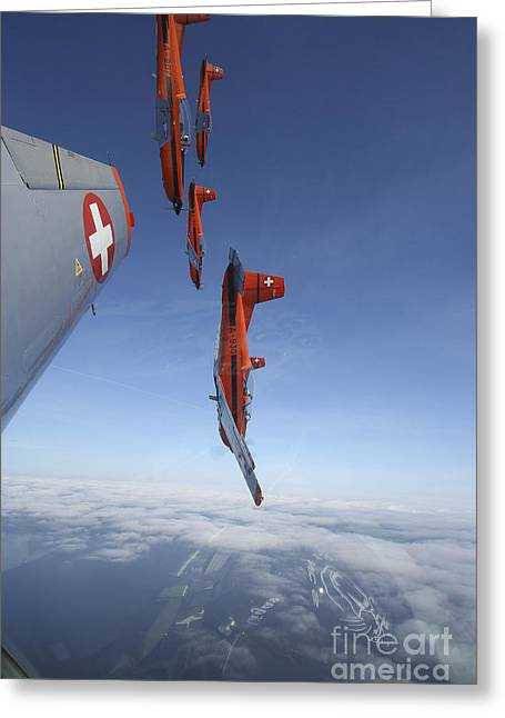 Pc Greeting Cards - Swiss Air Force Display Team, Pc-7 Greeting Card by Daniel Karlsson