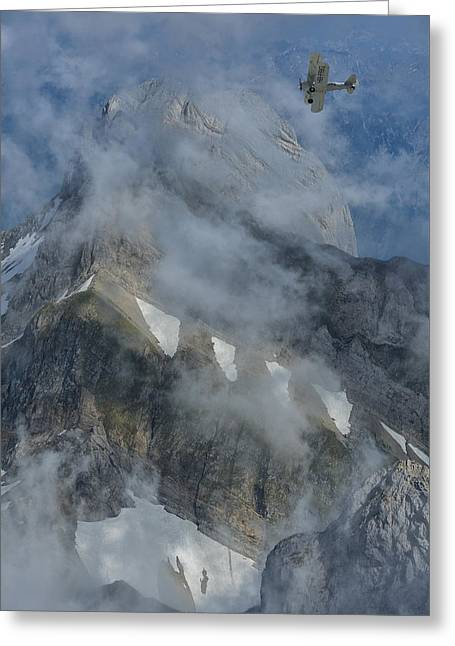 Vertical Flight Greeting Cards - Swiss Alps Greeting Card by Christian Heeb