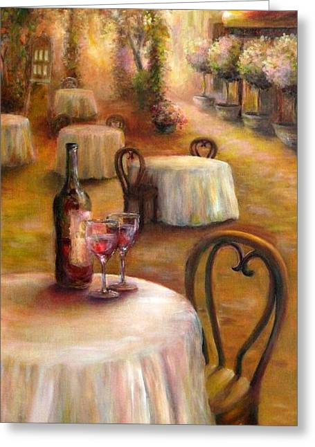 Table Wine Greeting Cards - Table For Two Greeting Card by Bonnie Goedecke