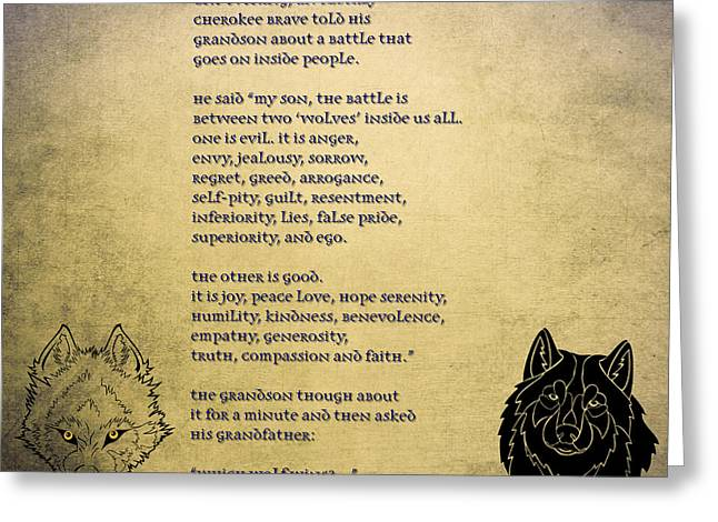 Tale Of Two Wolves - Art Of Stories Greeting Card by Celestial Images