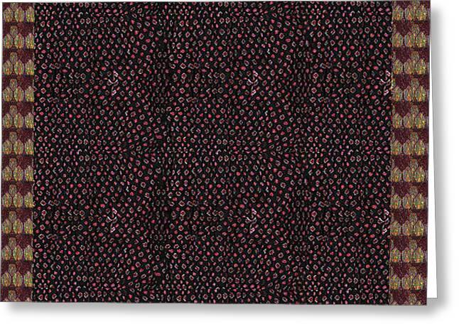 Talking Mixed Media Greeting Cards - Talking point art FUSION Graphic Art  Jaipur Fabric beads dots texture print and  Digital Art Graphi Greeting Card by Navin Joshi