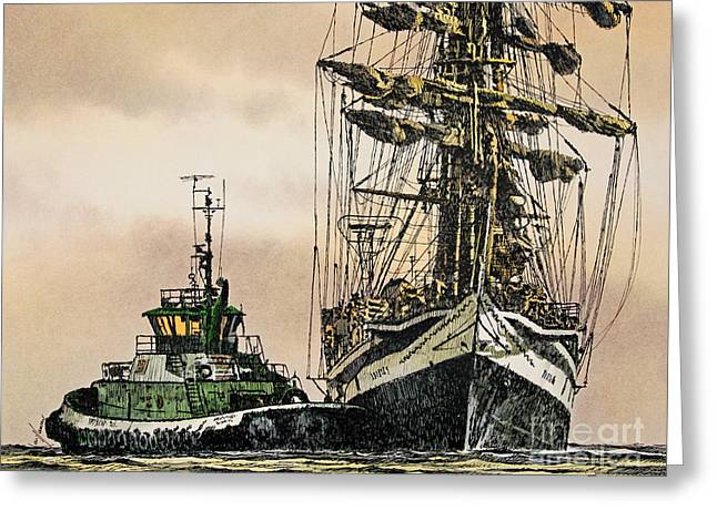 Pen And Ink Framed Prints Greeting Cards - Tall Ship Assist Greeting Card by James Williamson