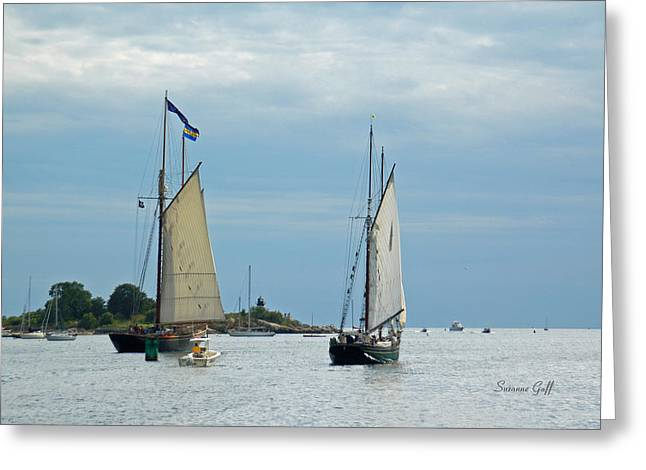 Tall Ships Sailing I Greeting Card by Suzanne Gaff