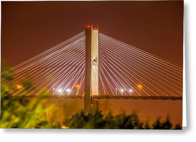 Famous Bridge Greeting Cards - Talmadge Memorial Bridge in savannah georgia Greeting Card by Alexandr Grichenko