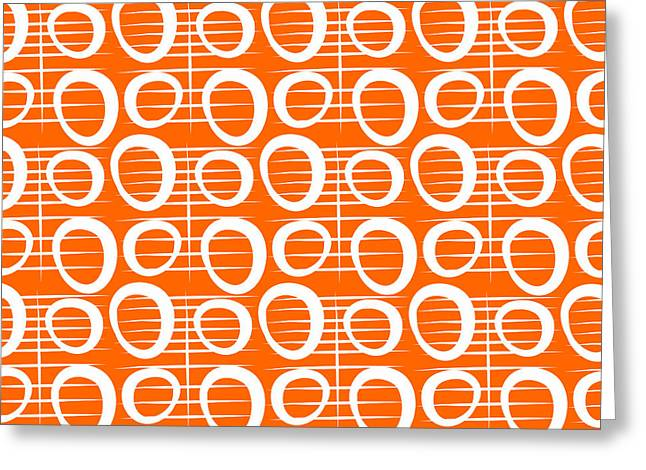 Corporate Art Greeting Cards - Tangerine Loop Greeting Card by Linda Woods