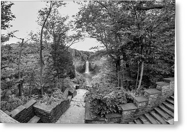 Geology Photographs Greeting Cards - Taughannock Falls 4 - bw Greeting Card by Steve Harrington