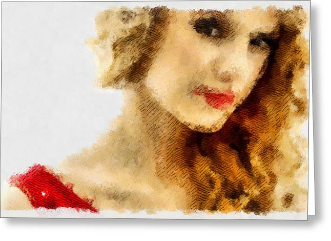 Taylor Swift Paintings Greeting Cards - Taylor Swift Painting On Canvas Greeting Card by Sir Josef  Putsche
