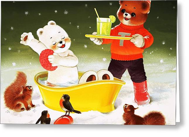 In The Bath Greeting Cards - Teddy Bear Christmas Card Greeting Card by William Francis Phillipps