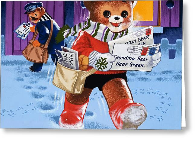 Snow Capped Drawings Greeting Cards - Teddy Bear Postman Greeting Card by William Francis Phillipps