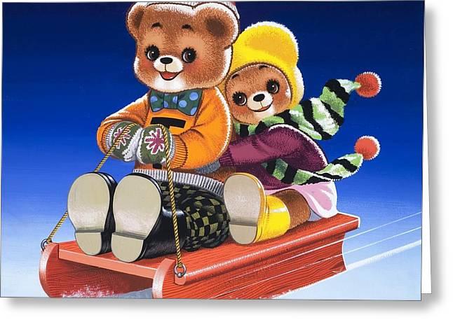 Teddy Bear Sleigh Ride Greeting Card by William Francis Phillipps