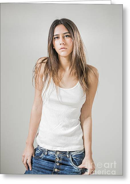 Positive Attitude Greeting Cards - Teen In Tank Top Greeting Card by PhotoStock-Israel