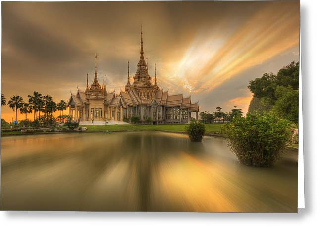Historic Architecture Sculptures Greeting Cards - Temple At Twilight In Thailand Greeting Card by Kriangkrai Netnangrong