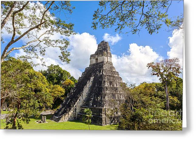 Mayan Jaguar Greeting Cards - Temple I of the Jaguar - mayan ruins of Tikal Guatemala Greeting Card by Matteo Colombo