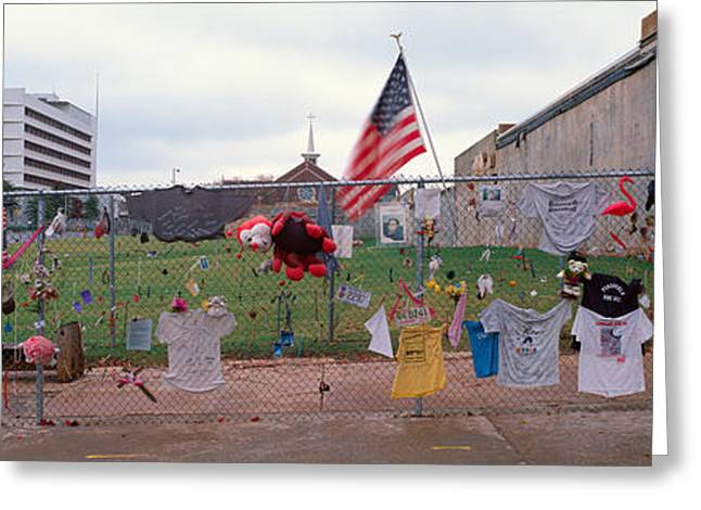 Flag Of Usa Greeting Cards - Temporary Memorial For 1995 Oklahoma Greeting Card by Panoramic Images