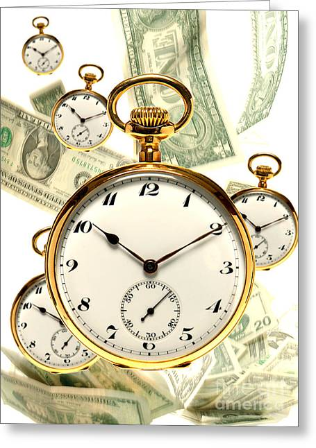 Money Greeting Cards - Tempus Fugit Greeting Card by Olivier Le Queinec