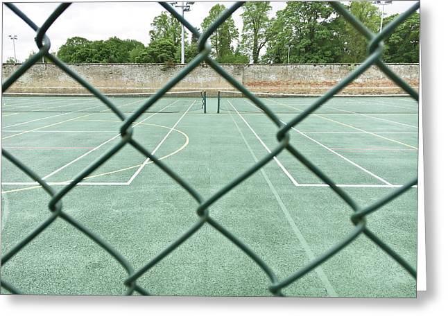 Tennis Court Greeting Card by Tom Gowanlock