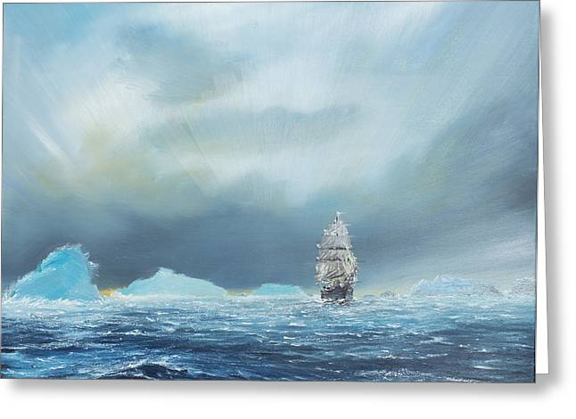 Sailboat Art Greeting Cards - Terra Nova Greeting Card by Vincent Alexander Booth