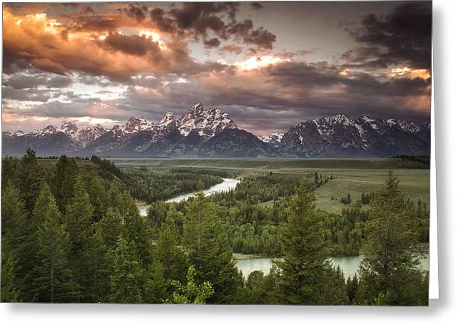 River. Clouds Greeting Cards - Teton Drama Greeting Card by Andrew Soundarajan