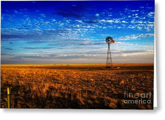 Texas Plains Windmill Greeting Card by Fred Lassmann