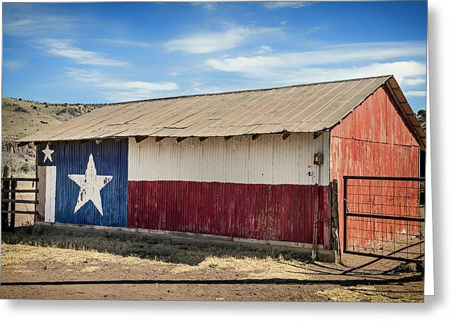 Jeff Greeting Cards - Texas State Flag on a Texan Ranch Barn Greeting Card by Mountain Dreams