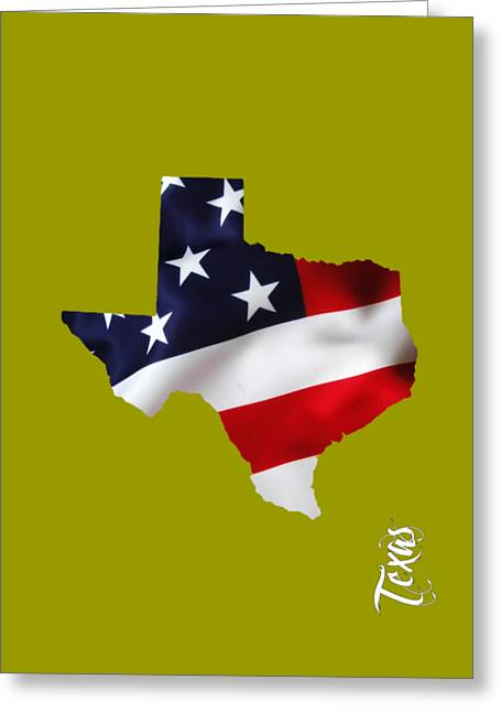 United States Greeting Cards - Texas State Map Collection Greeting Card by Marvin Blaine