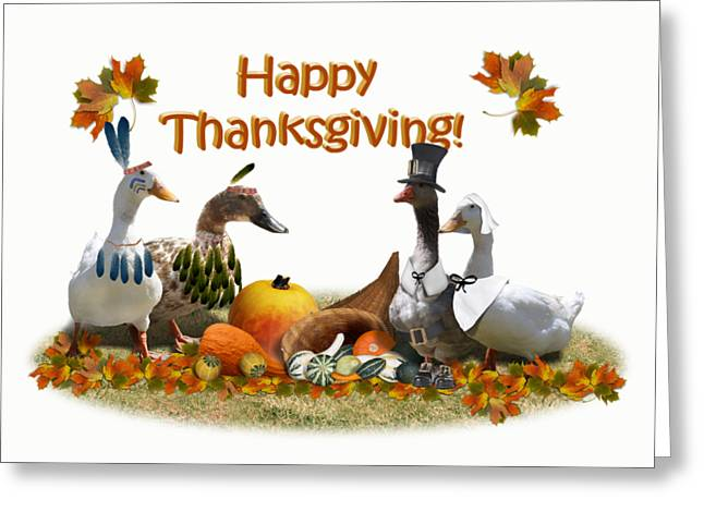 Birds Of A Feather Greeting Cards - Thanksgiving Ducks Greeting Card by Gravityx9 Designs