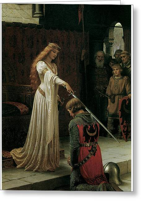 Knight Paintings Greeting Cards - The Accolade Greeting Card by Edmund Blair Leighton